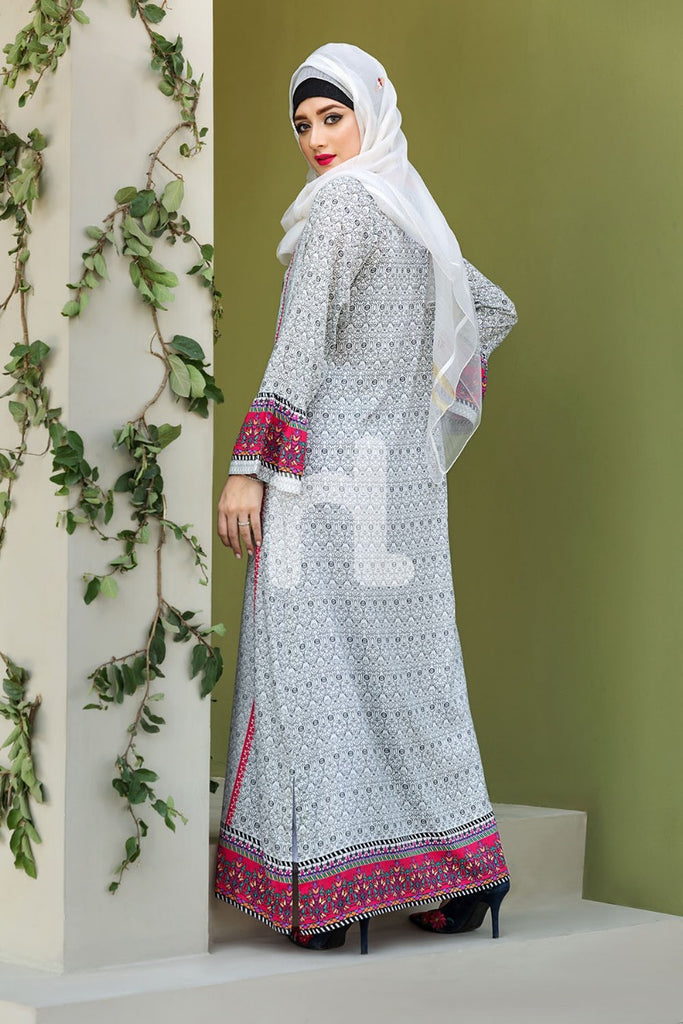 DSW19-83 White  Digital Printed Stitched  Jalabiya – 1PC - Nishat Linen UAE