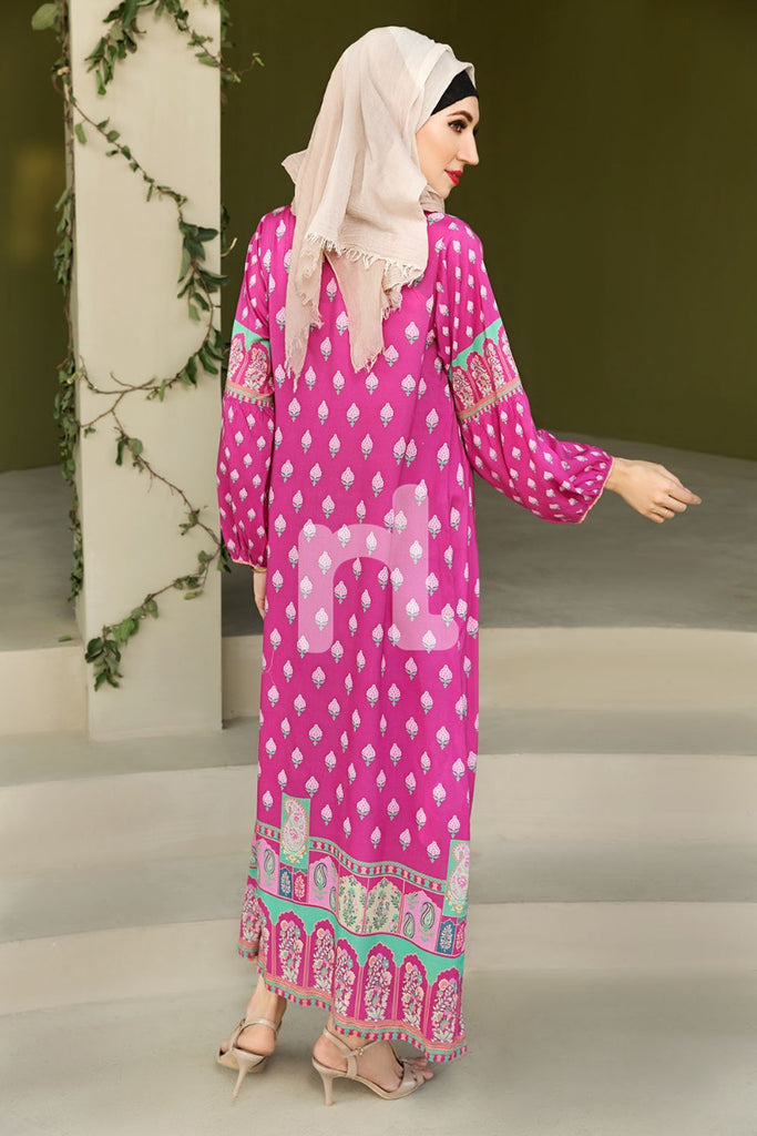DSW19-94 Pink Digital Printed Stitched  Jalabiya – 1PC - Nishat Linen UAE