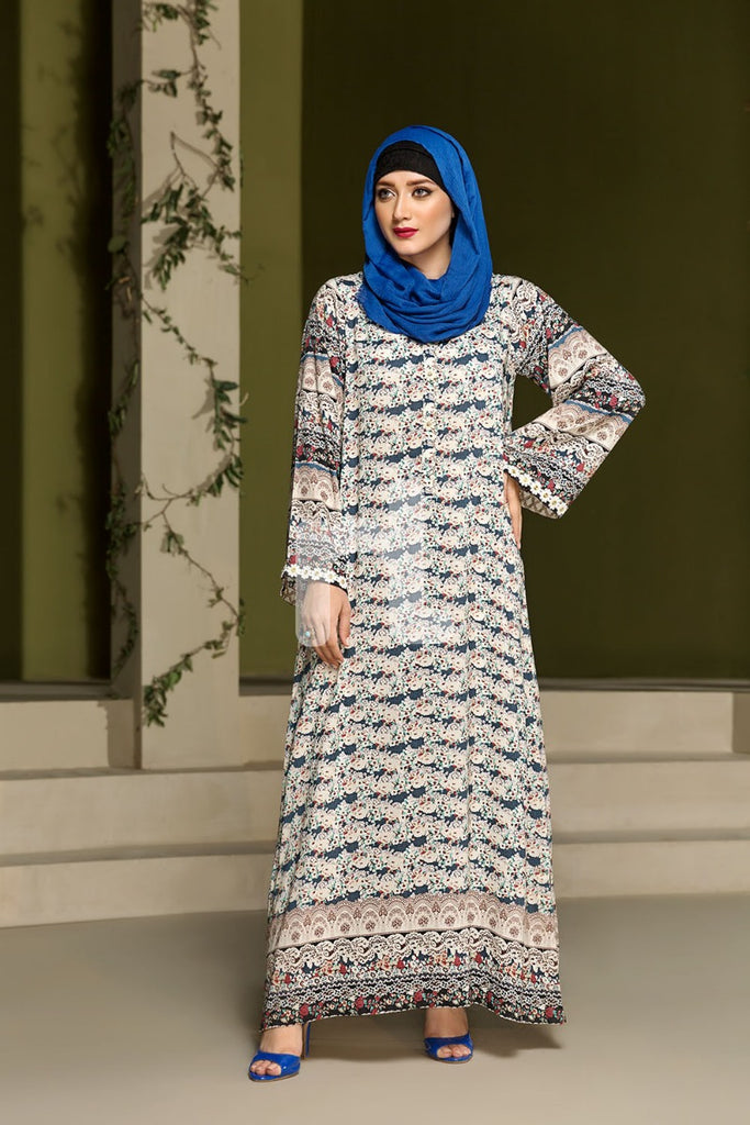 DSW19-97 Blue Digital Printed Stitched  Jalabiya – 1PC - Nishat Linen UAE