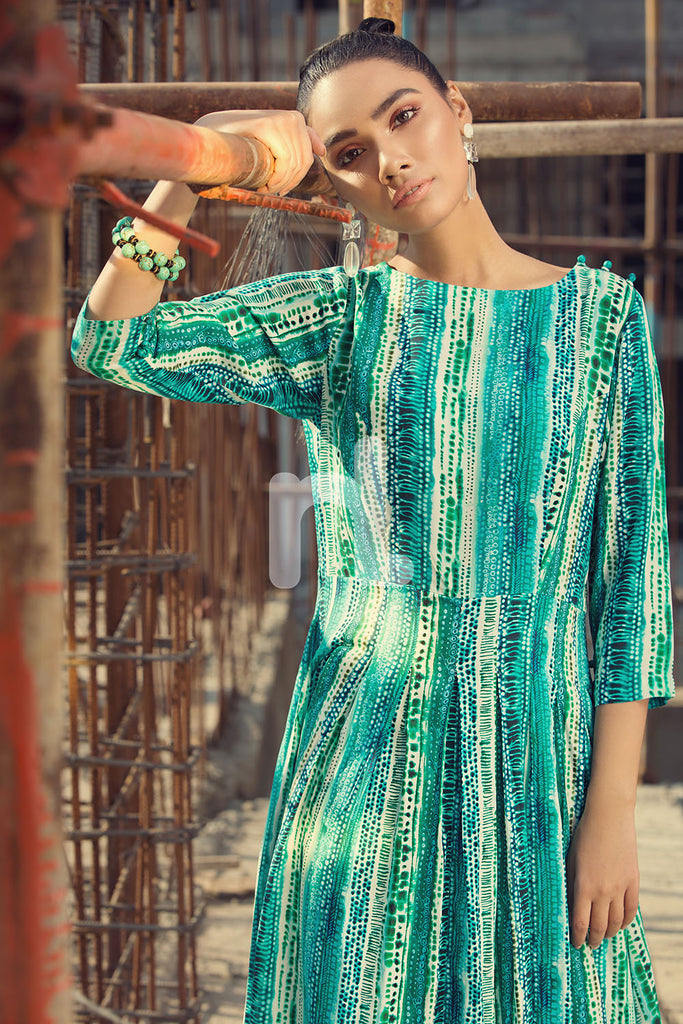 FS19-14 Blue Printed Stitched Micro Modal Long Fusion Dress - 1PC - Nishat Linen UAE