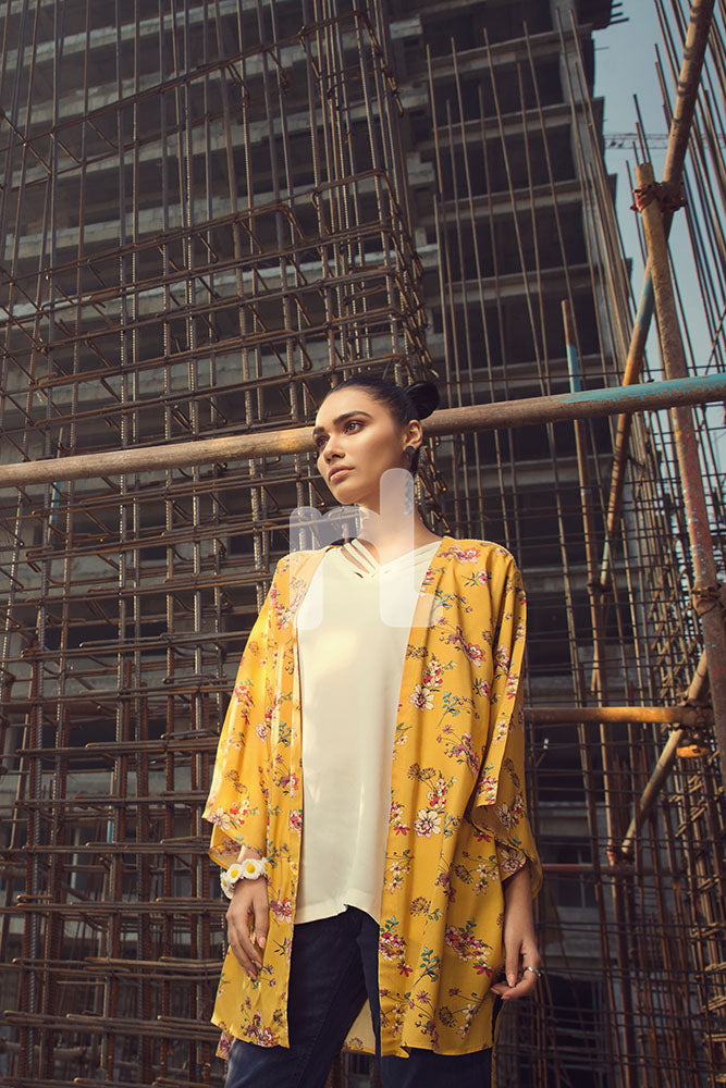 FS19-15 Yellow Digital Printed Stitched Micro Modal Fusion Jacket - 1PC - Nishat Linen UAE