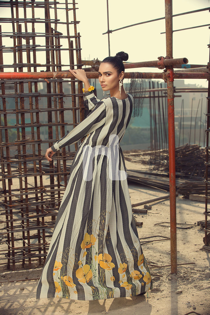 FS19-17 White Printed Stitched Micro Modal Long Fusion Dress - 1PC - Nishat Linen UAE