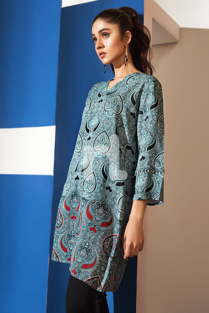FS19-46 Grey Printed Stitched Micro Modal Fusion Top - 1PC - Nishat Linen UAE