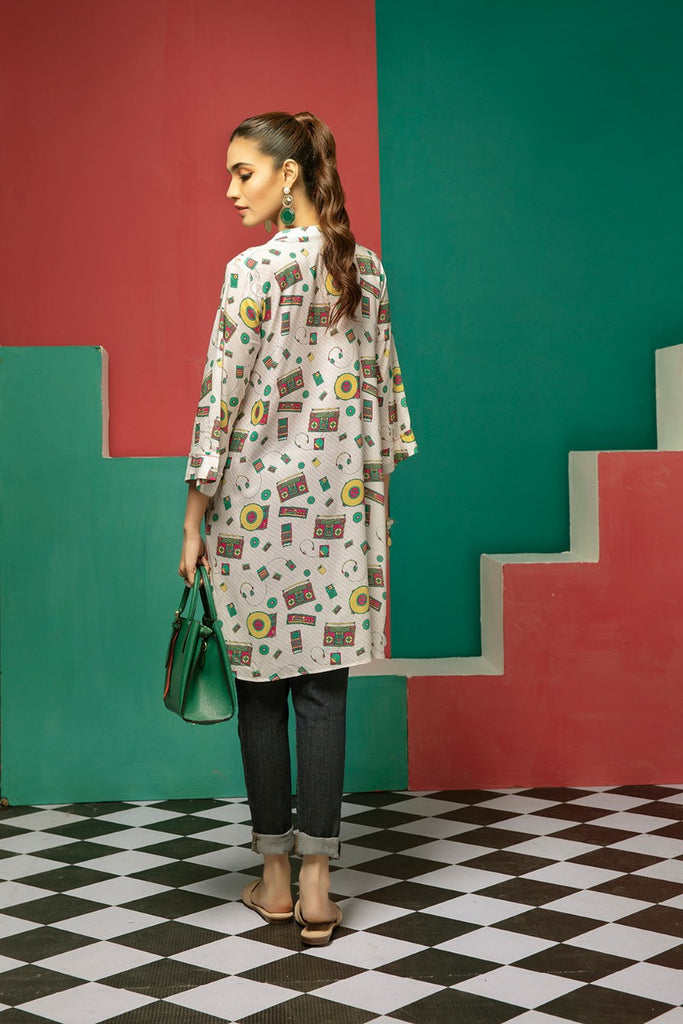 FS20-23 Digital Printed Micro Modal Fusion Top - 1PC - Nishat Linen UAE