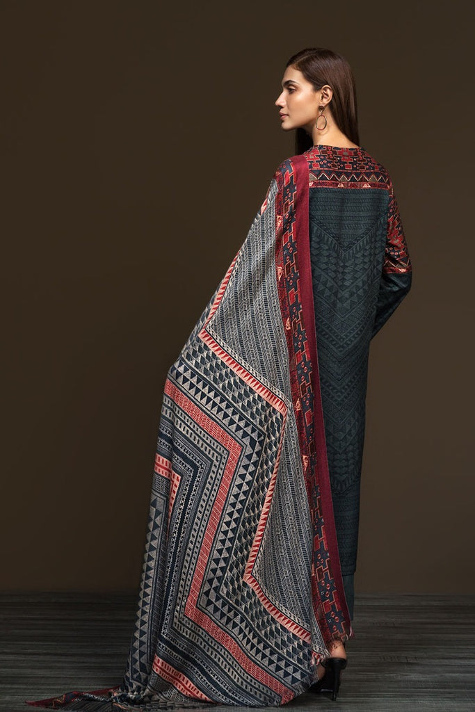 PDW19-19 Grey Printed Stitched Linen Shirt & Printed Dupatta - 2PC - Nishat Linen UAE