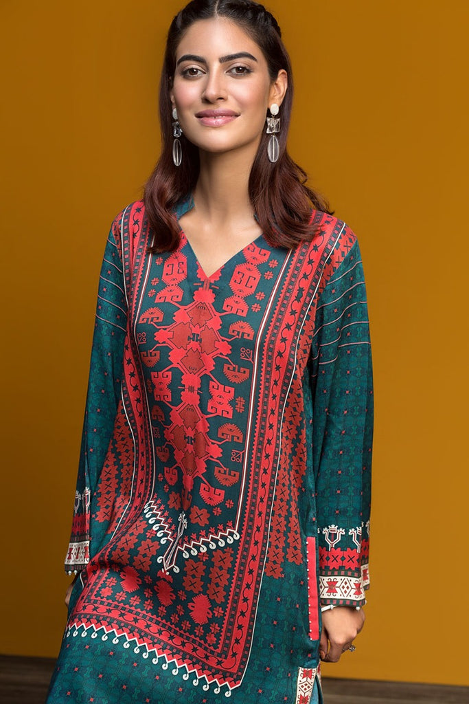 PDW19-30 Green Digital Printed Stitched Linen 2PC - Nishat Linen UAE