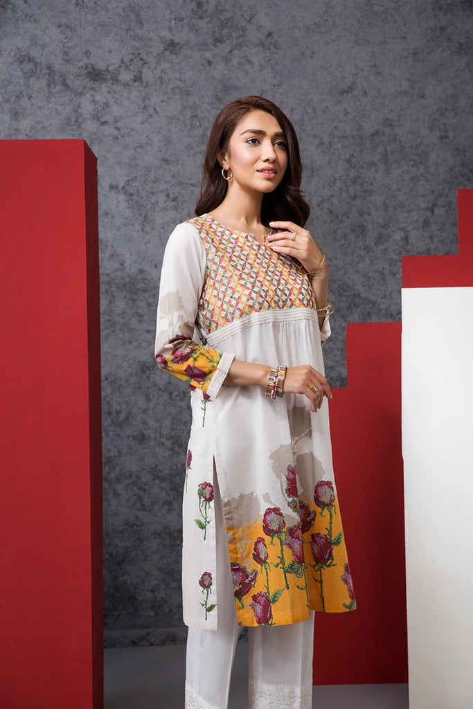 PE20-06 Printed Embroidered Stitched Shirt - 1PC - Nishat Linen UAE