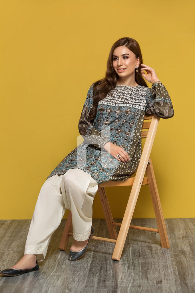 PPE19-31 Brown Printed Stitched Lawn Shirt - 1PC