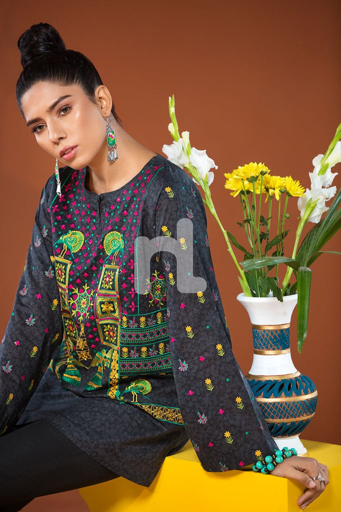 PS19-35 Black Textured Embroidered Stitched Shirt - 1PC - Nishat Linen UAE