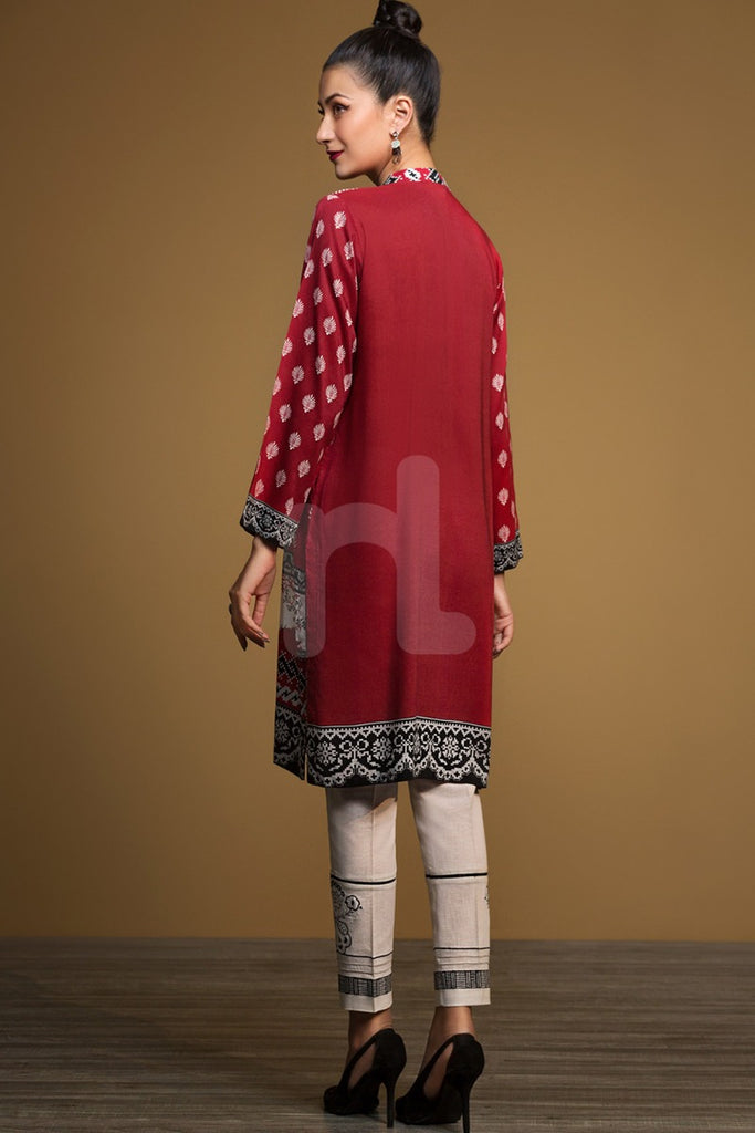 PW19-162 Red Digital Printed Stitched Linen Shirt - 1PC - Nishat Linen UAE