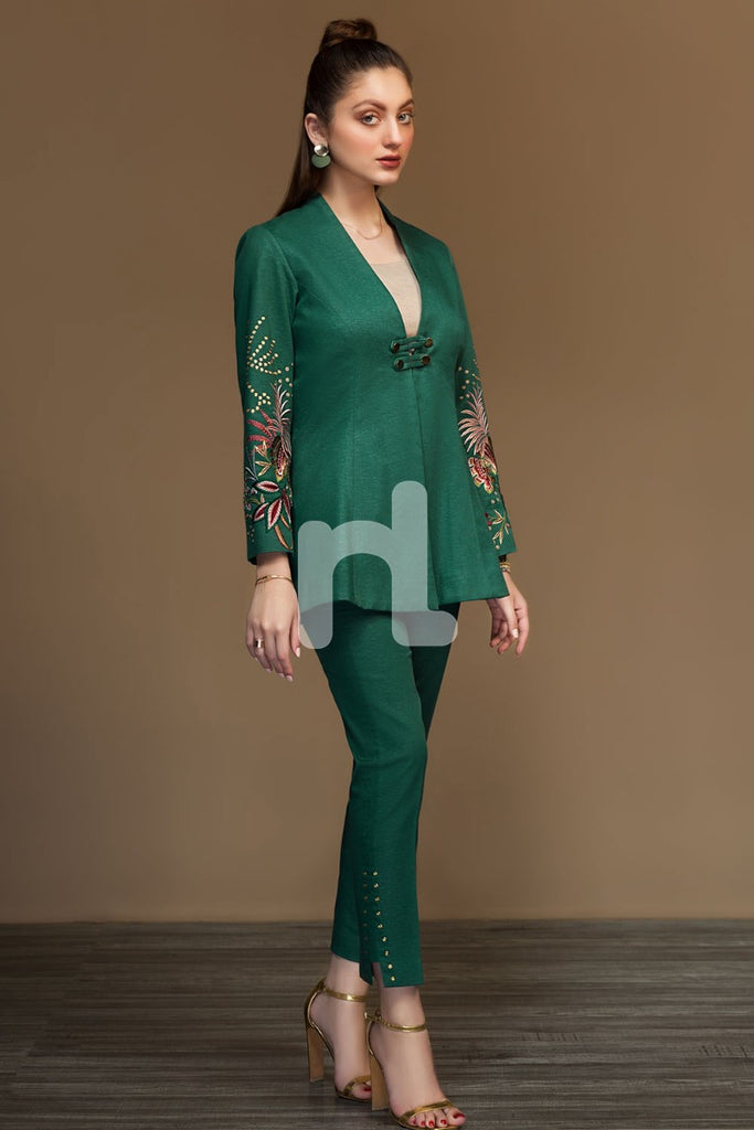 PW19-205 Green Dyed Embroidered Stitched Slub Jacket - 1PC - Nishat Linen UAE
