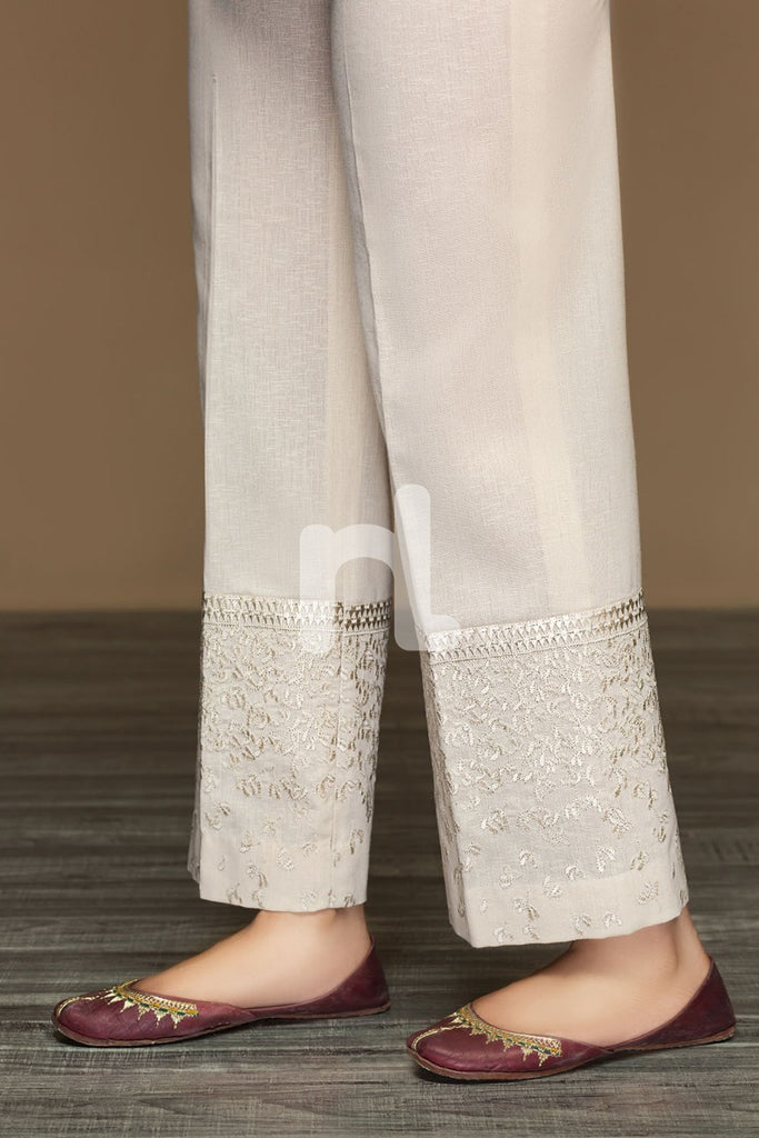 PW19-45 Beige Dyed Embroidered Stitched Loose Straight Karandi Trouser For Women - Nishat Linen UAE