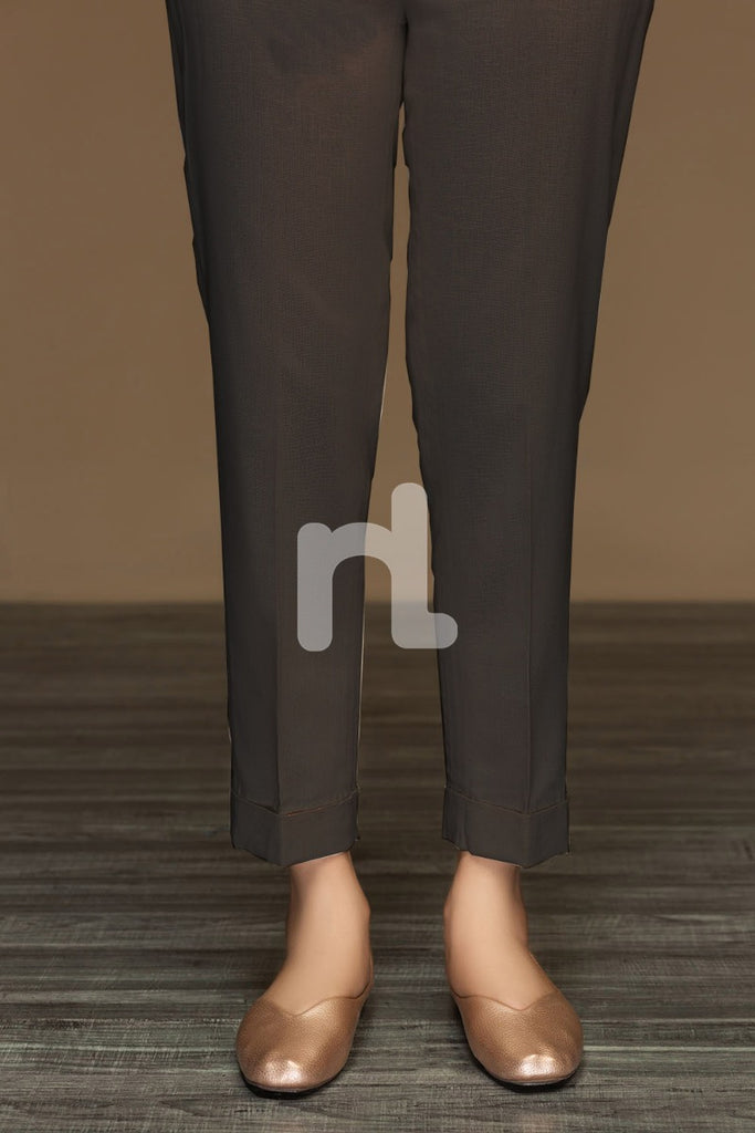 PW19-55 Black Dyed Stitched Straight Karandi Trouser For Women - Nishat Linen UAE