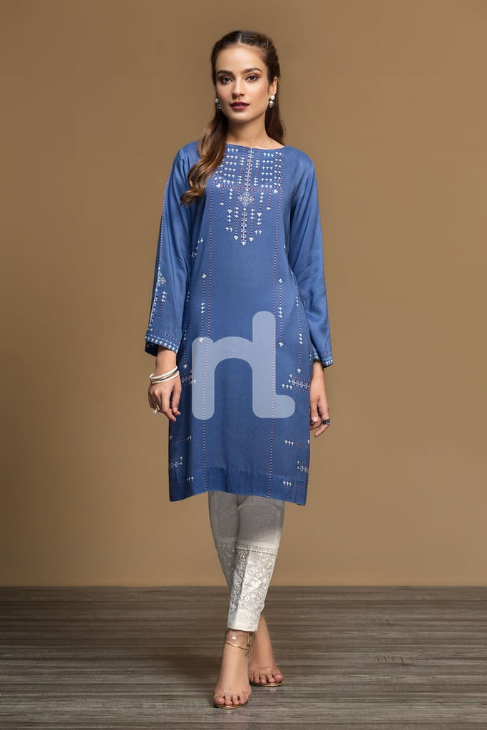 PW19-88 Blue Digital Printed Stitched Linen Shirt - 1PC - Nishat Linen UAE