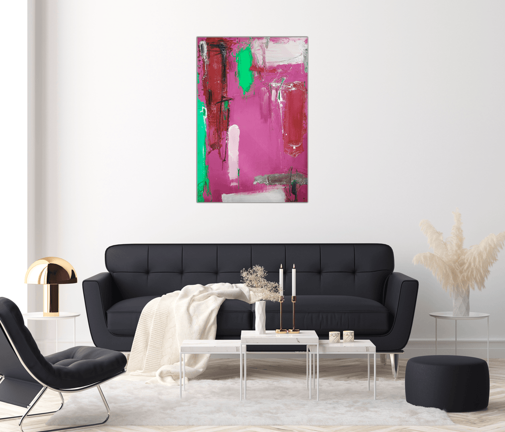 """Pink Vibes"" - Glass Print - HYLUS Acrylic Glass Art - Skateboards, Surfboards & Glass Prints Wall Decor for your Home."