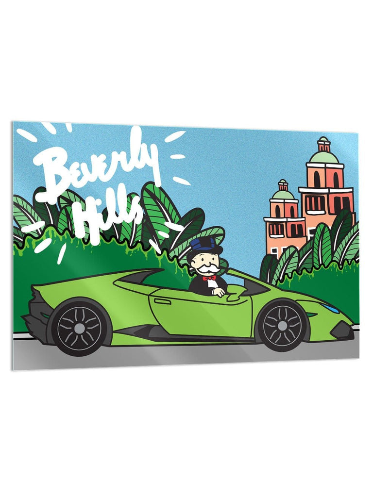 """Beverly Hills Lambo"" - Glass Print - HYLUS Acrylic Glass Art - Skateboards, Surfboards & Glass Prints Wall Decor for your Home."
