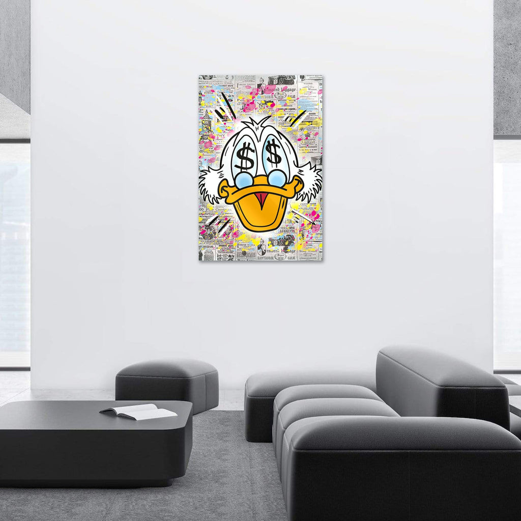 """$$$ Duck"" - Glass Print - HYLUS Acrylic Glass Art - Skateboards, Surfboards & Glass Prints Wall Decor for your Home."