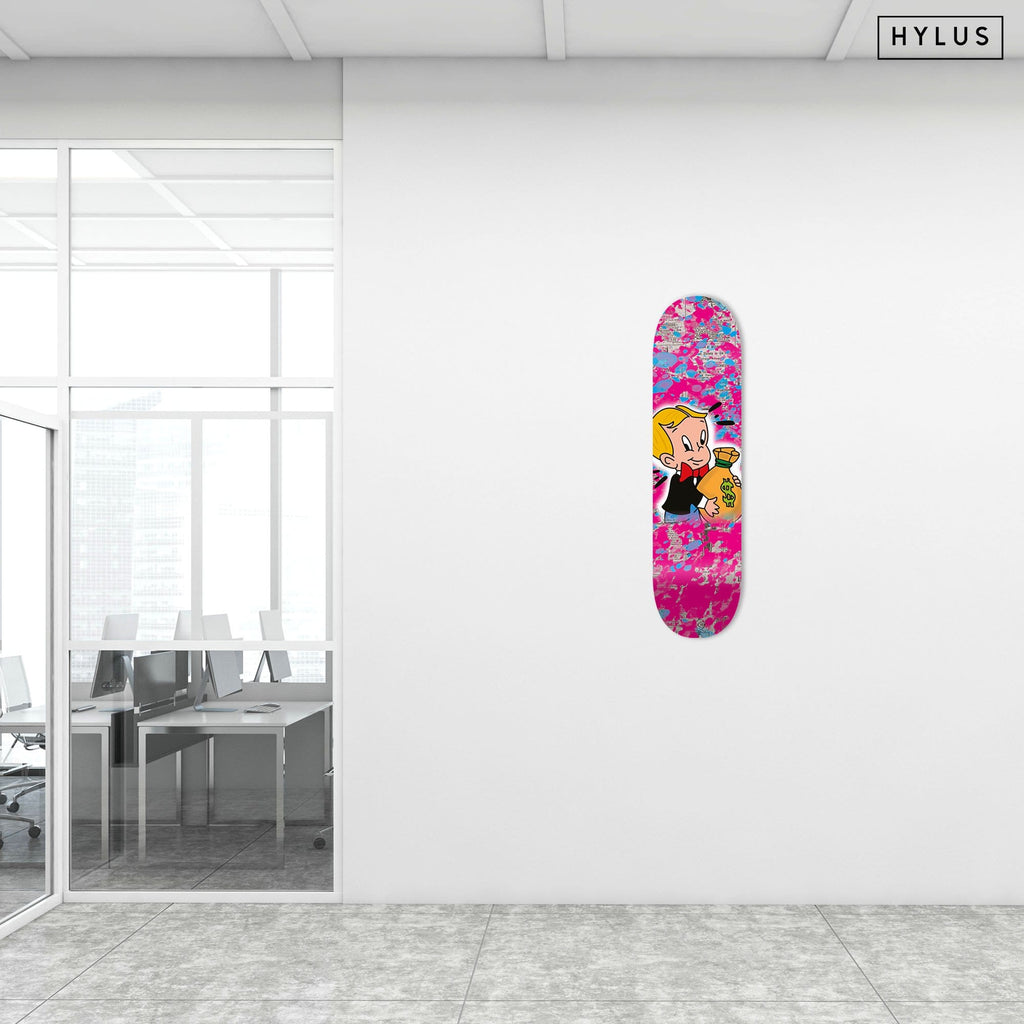 """Money Talks"" - Skateboard - HYLUS Acrylic Glass Art - Skateboards, Surfboards & Glass Prints Wall Decor for your Home."