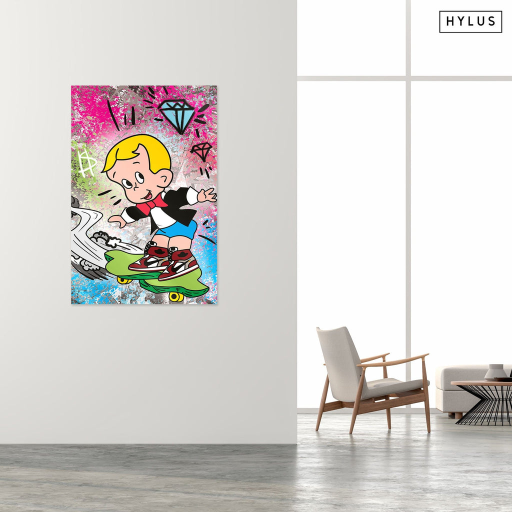 """Hype Richie"" - Glass Print - HYLUS Acrylic Glass Art - Skateboards, Surfboards & Glass Prints Wall Decor for your Home."