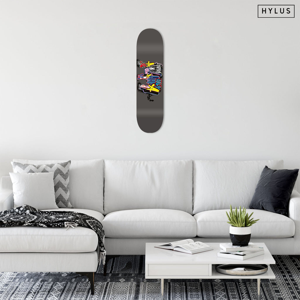 """Graffiti Cheetah"" - Skateboard - HYLUS Acrylic Glass Art - Skateboards, Surfboards & Glass Prints Wall Decor for your Home."