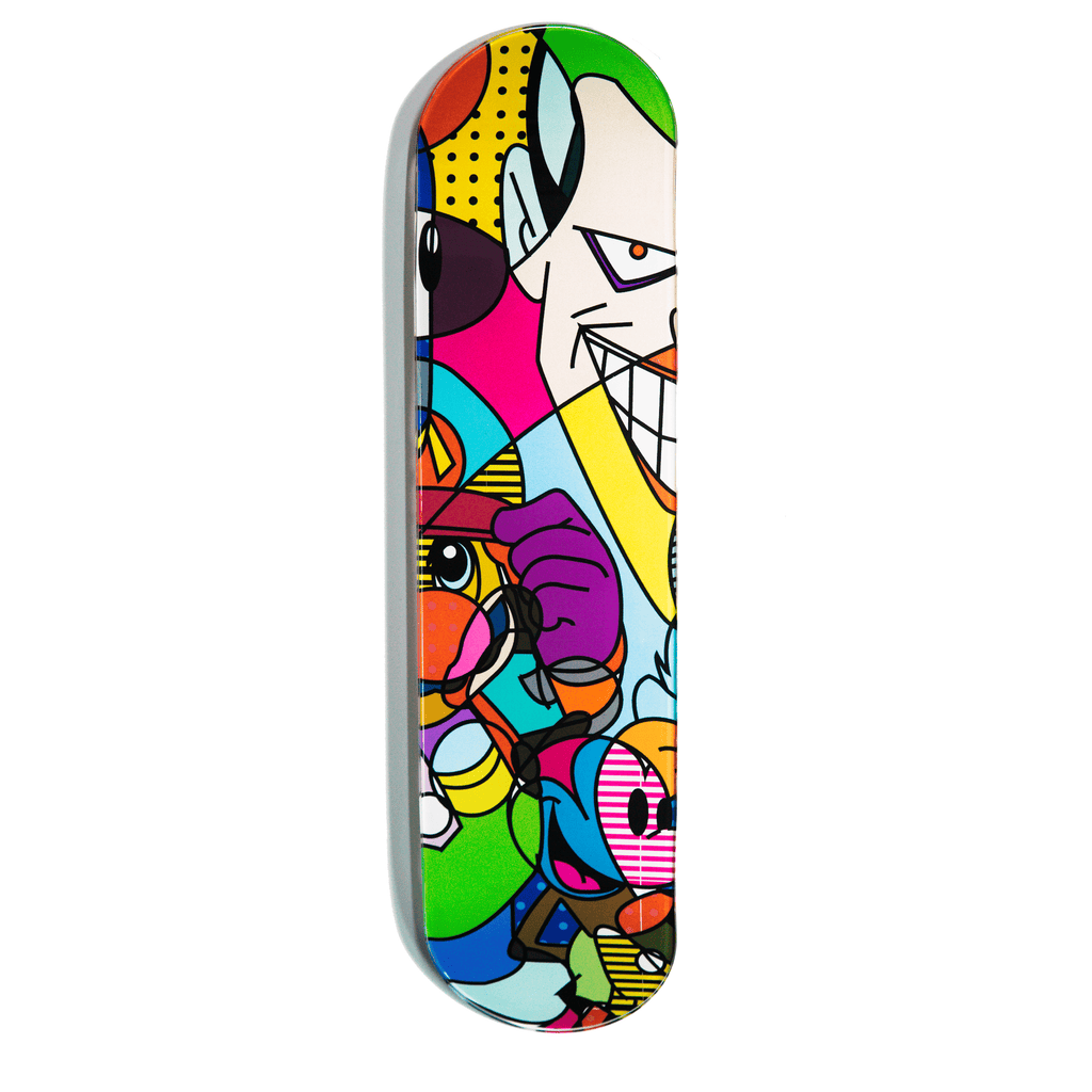 """Bad Guy"" - Skateboard - HYLUS Acrylic Glass Art - Skateboards, Surfboards & Glass Prints Wall Decor for your Home."