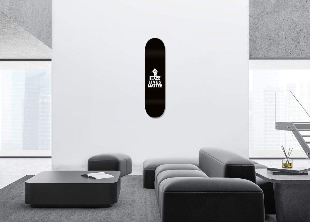 """BLM"" - Skateboard - HYLUS Acrylic Glass Art - Skateboards, Surfboards & Glass Prints Wall Decor for your Home."
