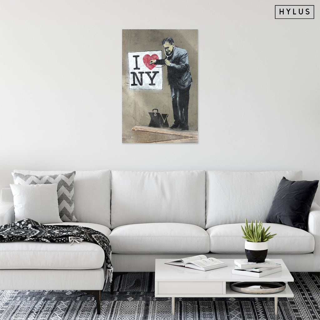 """I Heart NY"" - Glass Print - HYLUS Acrylic Glass Art - Skateboards, Surfboards & Glass Prints Wall Decor for your Home."