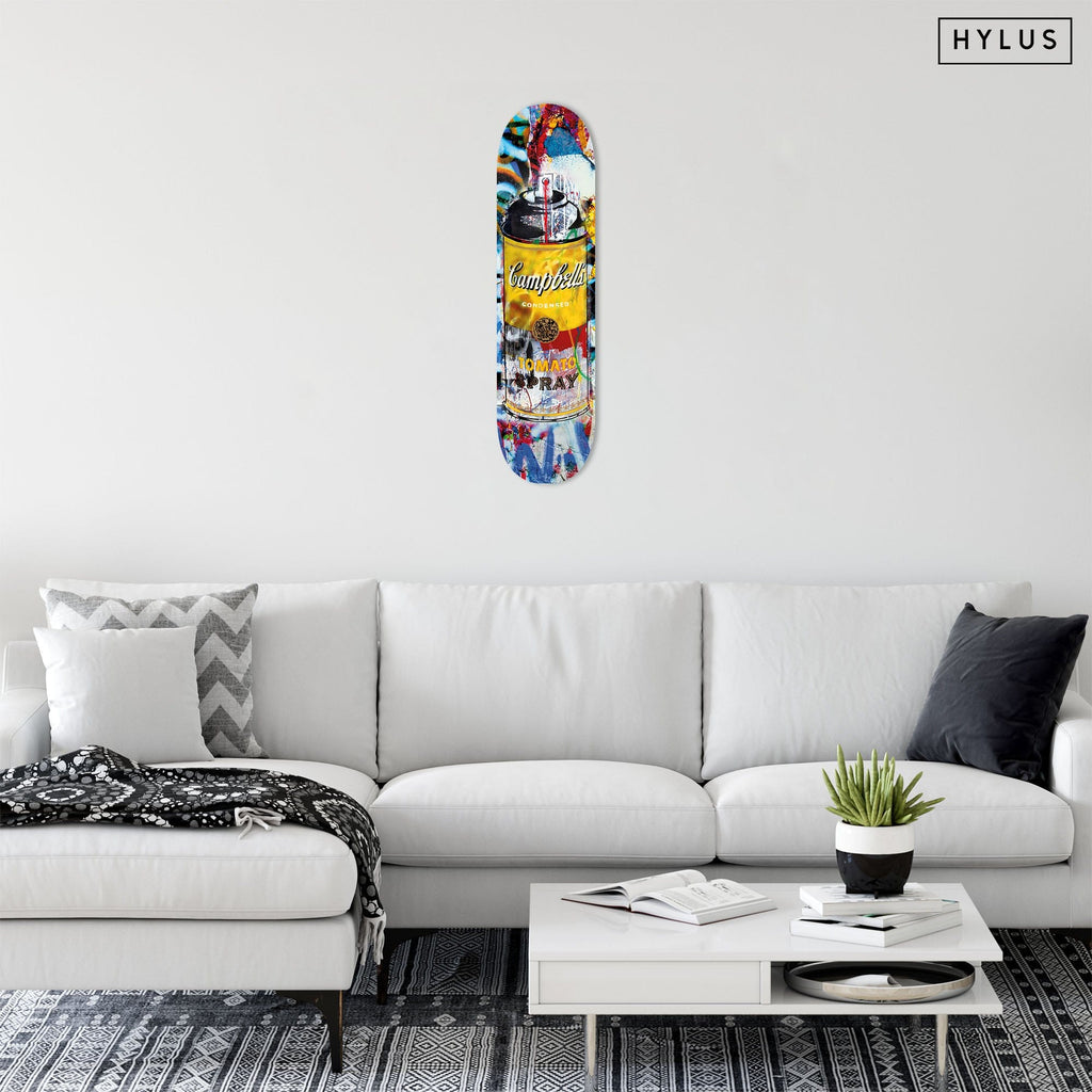 """Tomato Spray Yellow"" - Skateboard - HYLUS Acrylic Glass Art - Skateboards, Surfboards & Glass Prints Wall Decor for your Home."