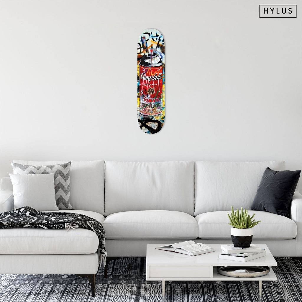 """Tomato Spray Red"" - Skateboard - HYLUS Acrylic Glass Art - Skateboards, Surfboards & Glass Prints Wall Decor for your Home."
