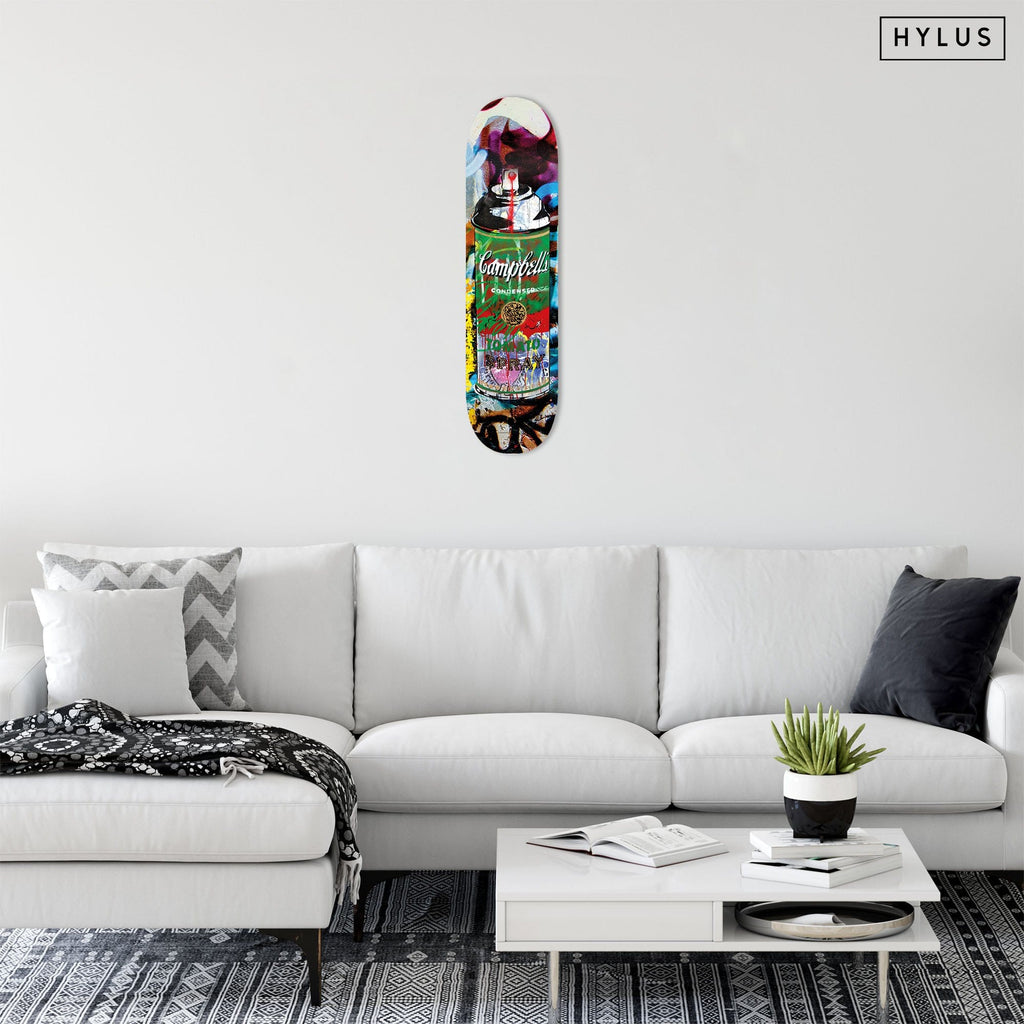 """Tomato Spray Green"" - Skateboard - HYLUS Acrylic Glass Art - Skateboards, Surfboards & Glass Prints Wall Decor for your Home."