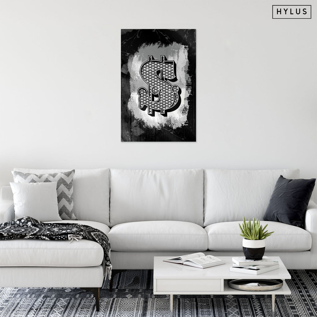 """Dolla Sign"" - Glass Print - HYLUS Acrylic Glass Art - Skateboards, Surfboards & Glass Prints Wall Decor for your Home."