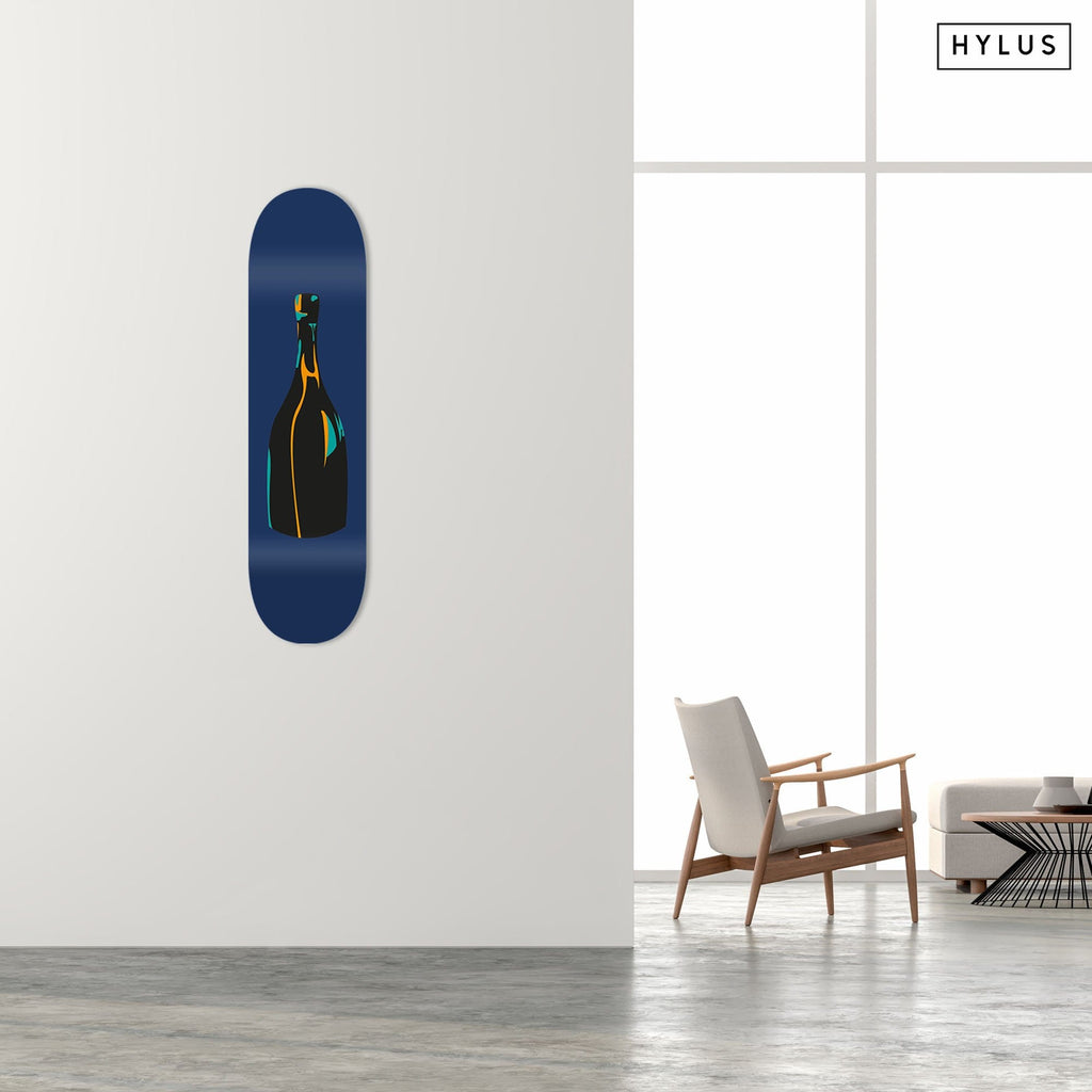 """Champagne Blue"" - Skateboard - HYLUS Acrylic Glass Art - Skateboards, Surfboards & Glass Prints Wall Decor for your Home."