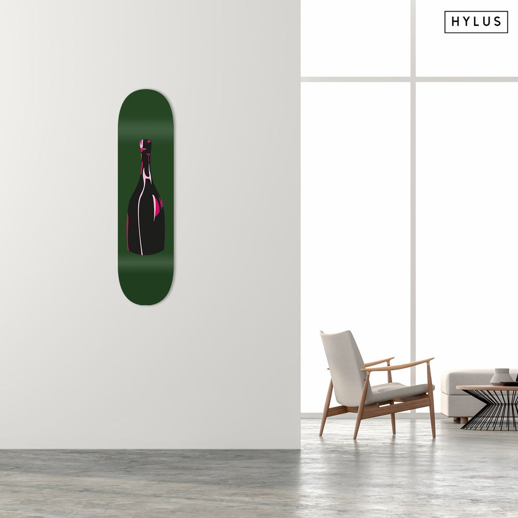 """Champagne Green"" - Skateboard - HYLUS Acrylic Glass Art - Skateboards, Surfboards & Glass Prints Wall Decor for your Home."