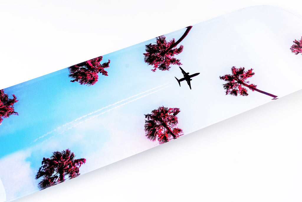 """Dreamy Sky"" - Skateboard - HYLUS Acrylic Glass Art - Skateboards, Surfboards & Glass Prints Wall Decor for your Home."