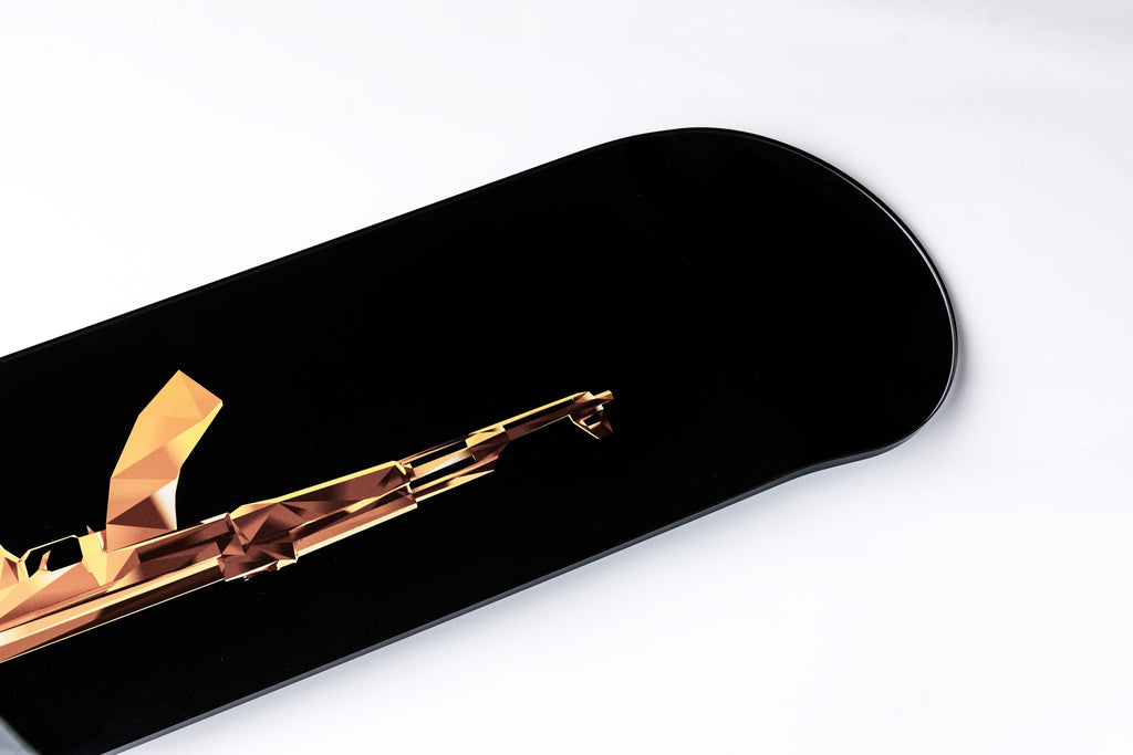 """Gold AK-47"" - Skateboard - HYLUS Acrylic Glass Art - Skateboards, Surfboards & Glass Prints Wall Decor for your Home."