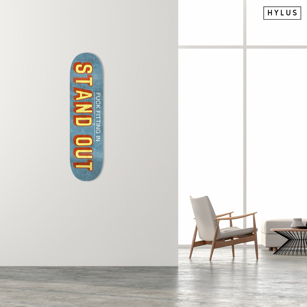 """Stand Out"" - Skateboard - HYLUS Acrylic Glass Art - Skateboards, Surfboards & Glass Prints Wall Decor for your Home."