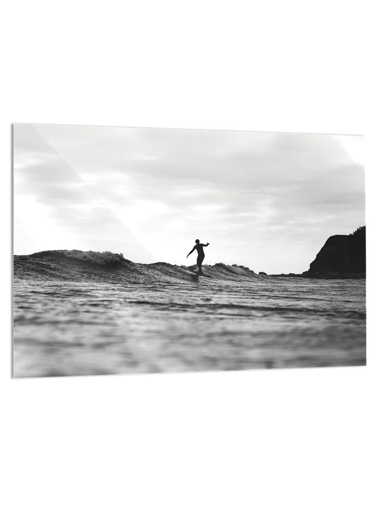 """Lone Surfer"" - Glass Print - HYLUS Acrylic Glass Art - Skateboards, Surfboards & Glass Prints Wall Decor for your Home."