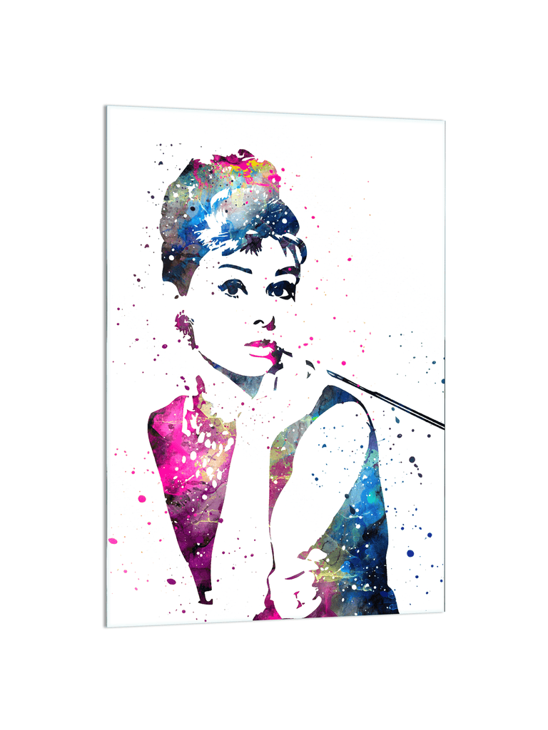 """Audrey Hepburn"" - Glass Print - HYLUS Acrylic Glass Art - Skateboards, Surfboards & Glass Prints Wall Decor for your Home."