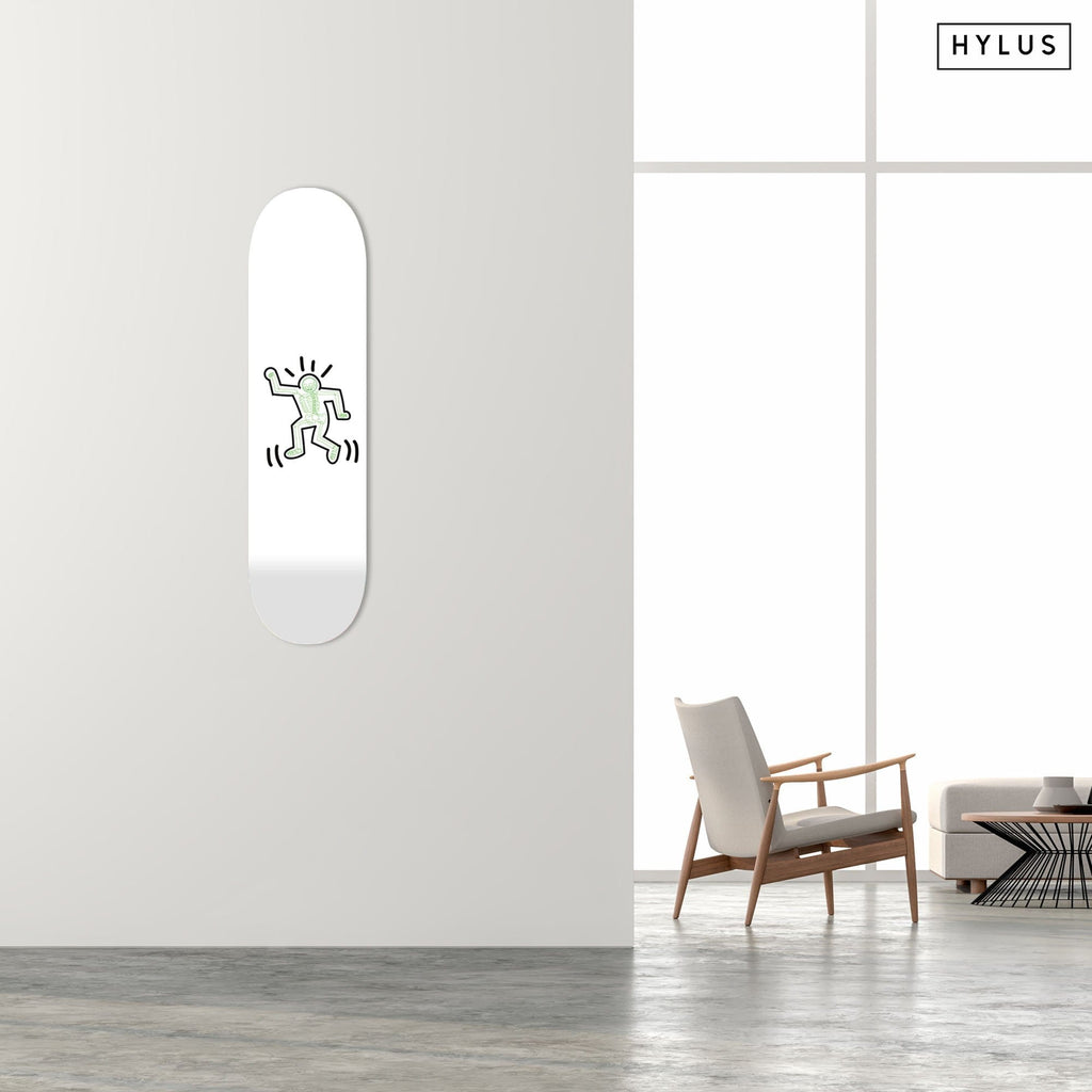 """Skeleton Green"" - Skateboard - HYLUS Acrylic Glass Art - Skateboards, Surfboards & Glass Prints Wall Decor for your Home."