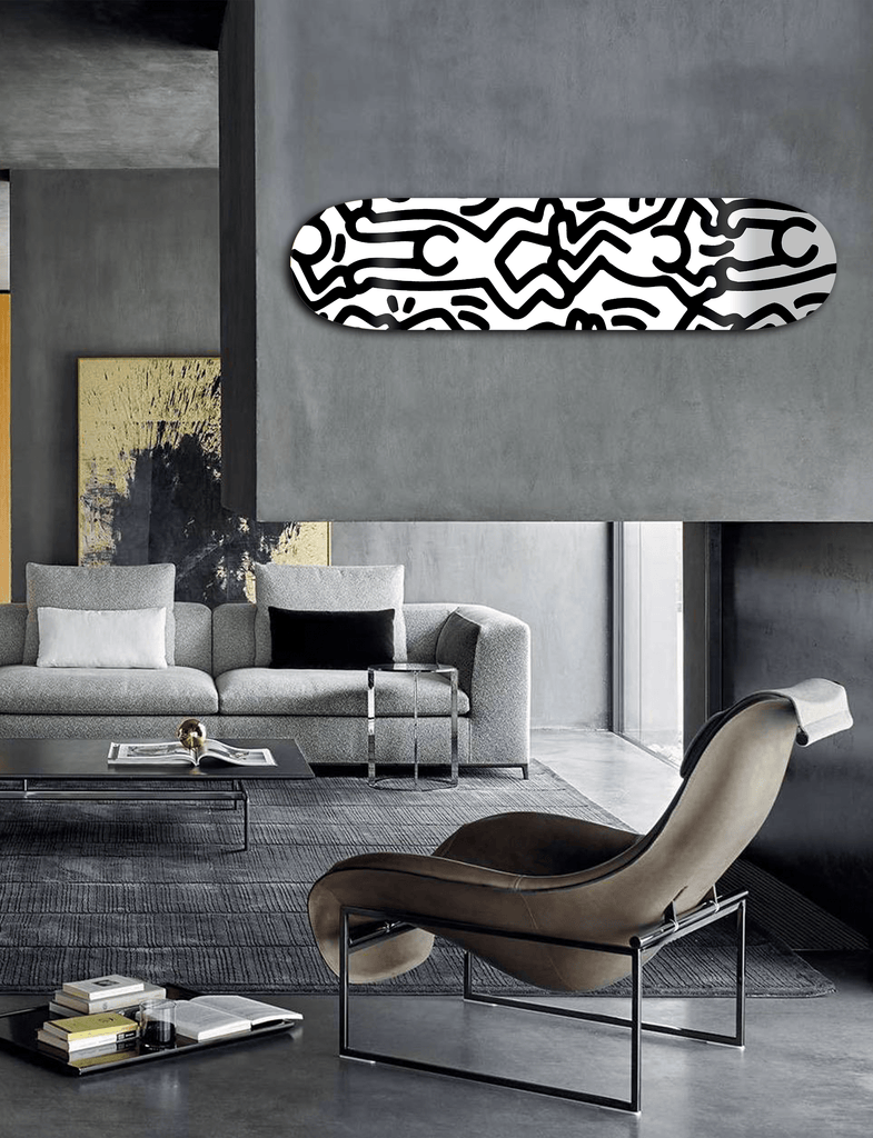 """Happiness B&W"" - Skateboard - HYLUS Acrylic Glass Art - Skateboards, Surfboards & Glass Prints Wall Decor for your Home."