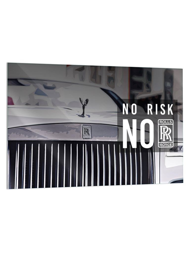 "HYLUS X Lord Aleem: ""No Risk, No RR"" - Glass Print - HYLUS Acrylic Glass Art - Skateboards, Surfboards & Glass Prints Wall Decor for your Home."
