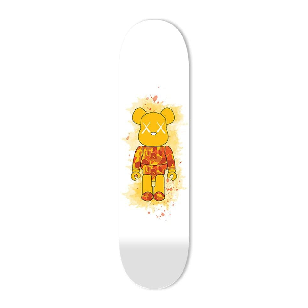 """Orange Camo Toy Figure"" - Skateboard - HYLUS Acrylic Glass Art - Skateboards, Surfboards & Glass Prints Wall Decor for your Home."
