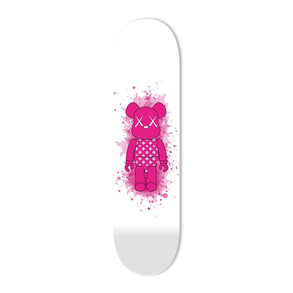 """Diamonds Pink Toy Figure"" - Skateboard - HYLUS Acrylic Glass Art - Skateboards, Surfboards & Glass Prints Wall Decor for your Home."