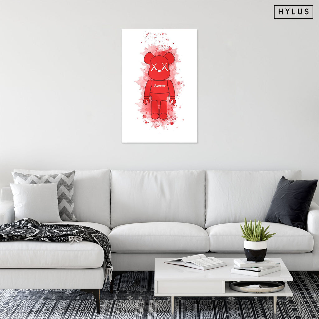 """Supreme Red Toy Figure"" - Glass Print - HYLUS Acrylic Glass Art - Skateboards, Surfboards & Glass Prints Wall Decor for your Home."