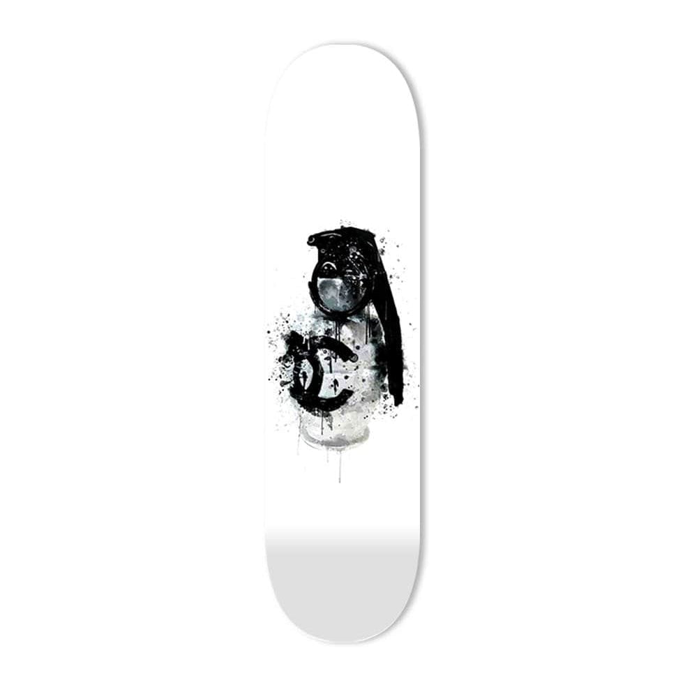 """Luxury Grenade White"" - Skateboard - HYLUS Acrylic Glass Art - Skateboards, Surfboards & Glass Prints Wall Decor for your Home."