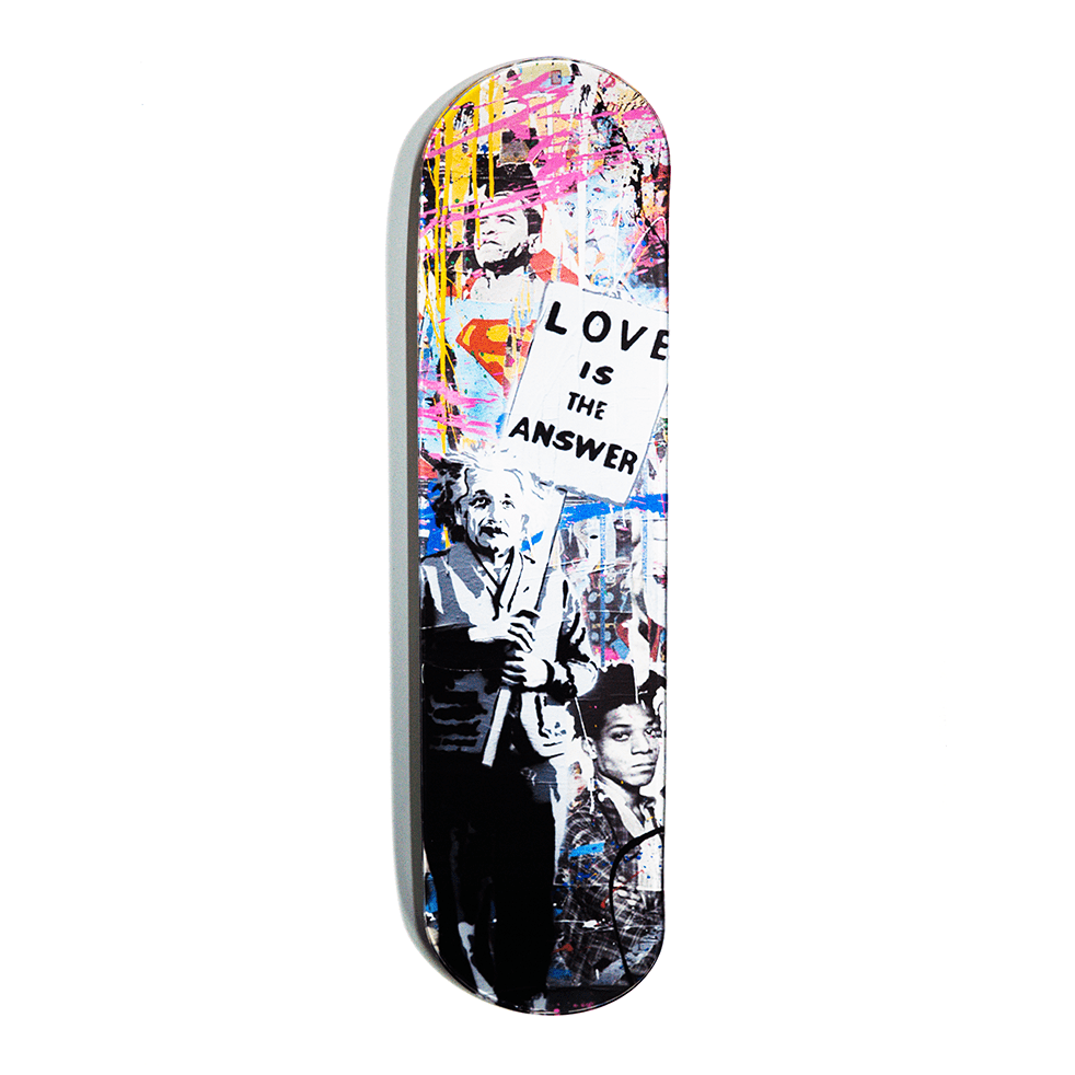 """Love Is The Answer"" - Skateboard - HYLUS Acrylic Glass Art - Skateboards, Surfboards & Glass Prints Wall Decor for your Home."