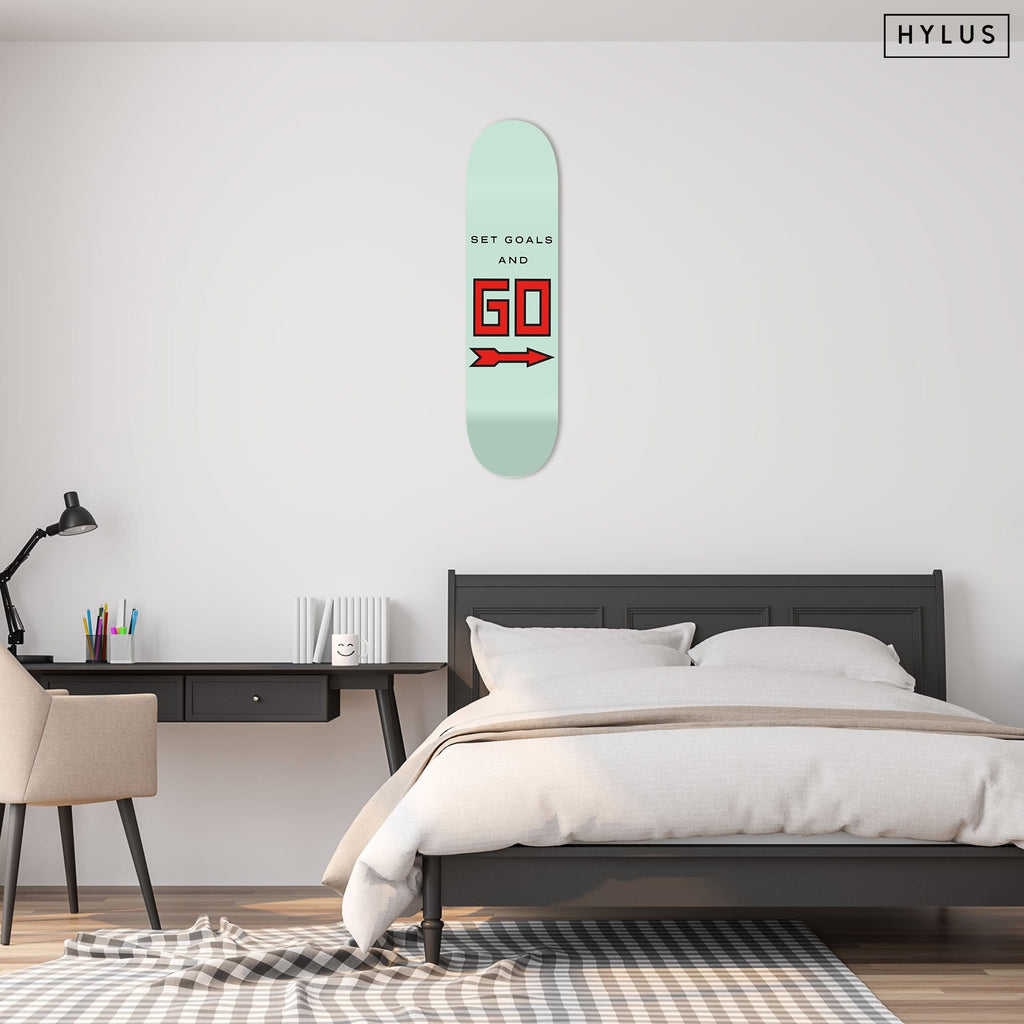"""Set Goals"" - Skateboard - HYLUS Acrylic Glass Art - Skateboards, Surfboards & Glass Prints Wall Decor for your Home."