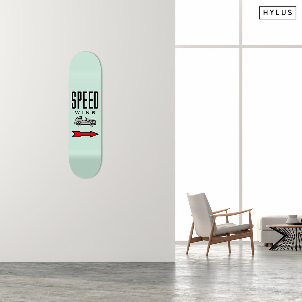 """Speed Wins"" - Skateboard - HYLUS Acrylic Glass Art - Skateboards, Surfboards & Glass Prints Wall Decor for your Home."