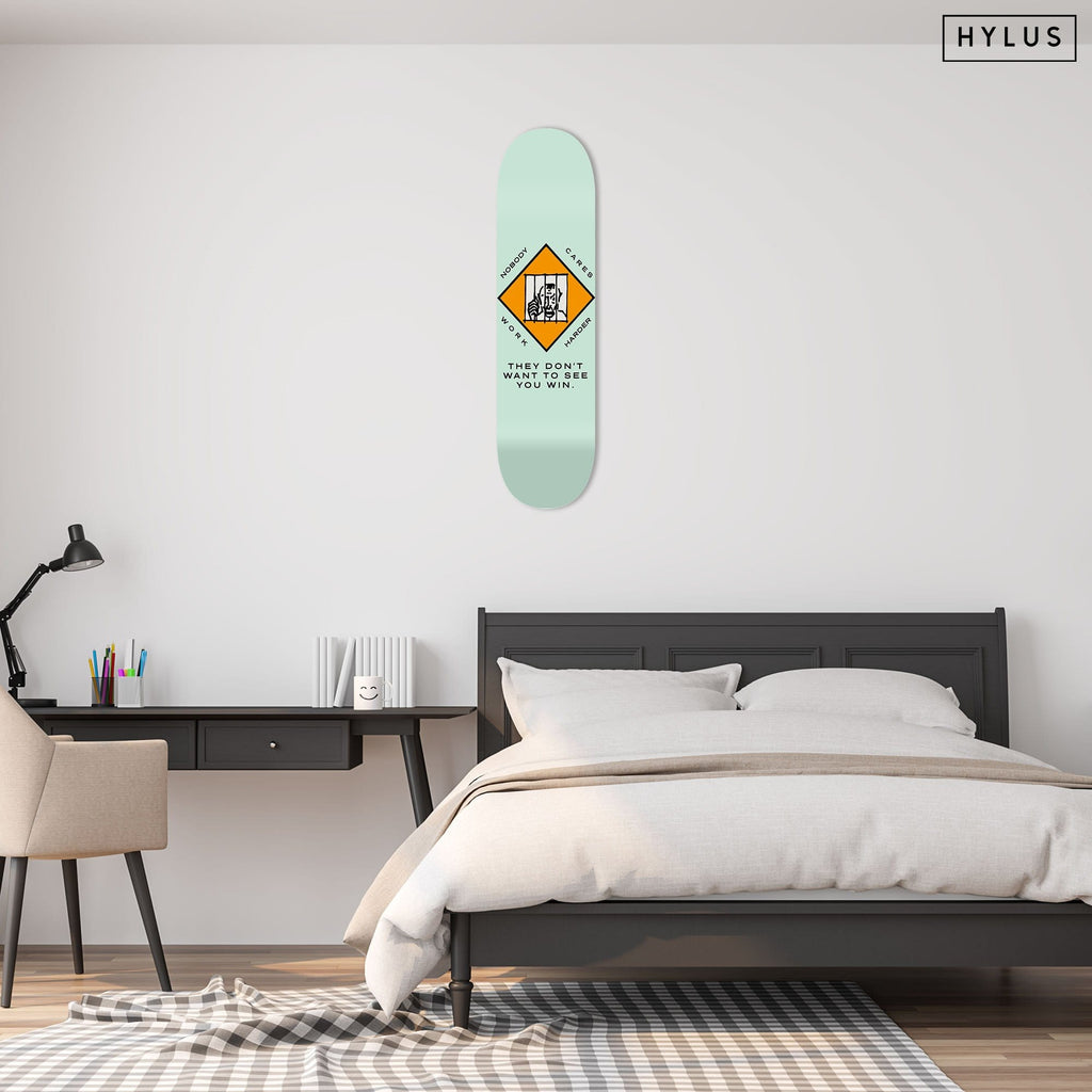 """Work Harder"" - Skateboard - HYLUS Acrylic Glass Art - Skateboards, Surfboards & Glass Prints Wall Decor for your Home."