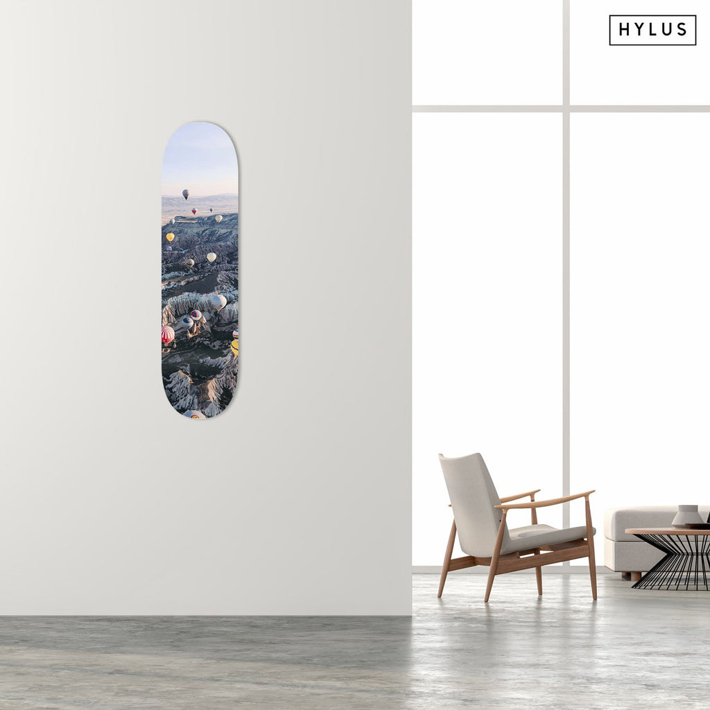 """Balloon Mountain"" - Skateboard - HYLUS Acrylic Glass Art - Skateboards, Surfboards & Glass Prints Wall Decor for your Home."